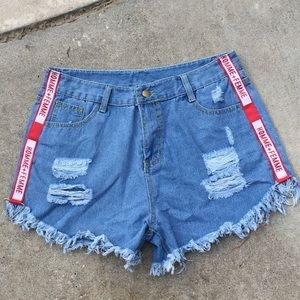 Pants - Homme + Femme Ripped Denim Shorts